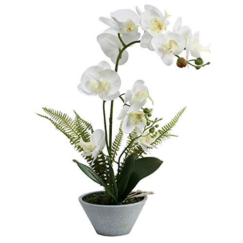 Omygarden Flores de orquídea artificiales blancas con maceta, Phalaenopsis, orquídeas de plástico falsas, decoración para el hogar oficina boda