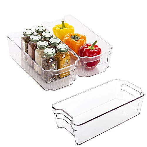 Zeeych Plastic storage bins, Refrigerator Organizer with Handles - Fridge Organizer for Fruit, Yogurt, Snacks, Pasta - Food Safe, BPA Free, Clear(3 Pack) (Small)