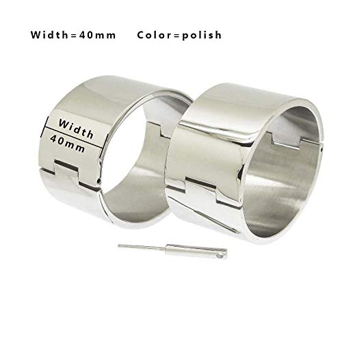 polished Brushed silver Black stainless steel wrist ankle cuffs lockable bangle slave bracelets-W 40mm Polish_Ankle 80mm x 70mm XL