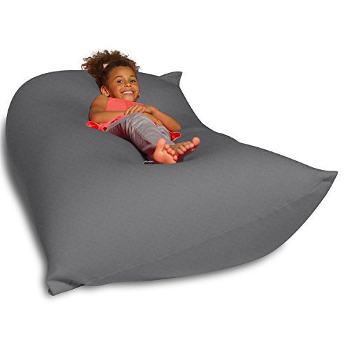 Big Squishy Portable and Stylish Bean Bag Chair, Medium, Gray