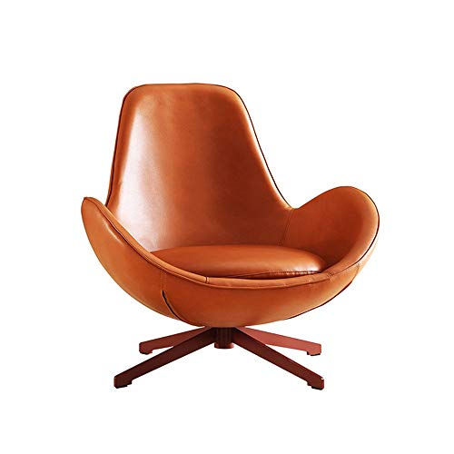 Leather Sofa Nordic Minimalist Designer Rotating Furniture Living Room Single Leisure Sofa Egg Chair (Color : Orange, Size : One Size)