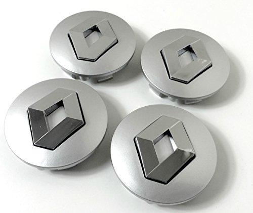 Set de 4centros de tapacubos de Renault, llantas de aleación, 57mm, gris cromo, cubierta con insignia