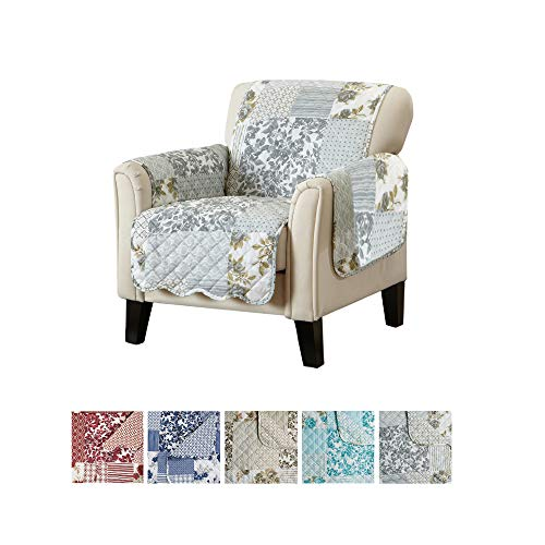 Patchwork Scalloped Printed Furniture Protector. Stain Resistant Chair Cover. (Chair, Grey)