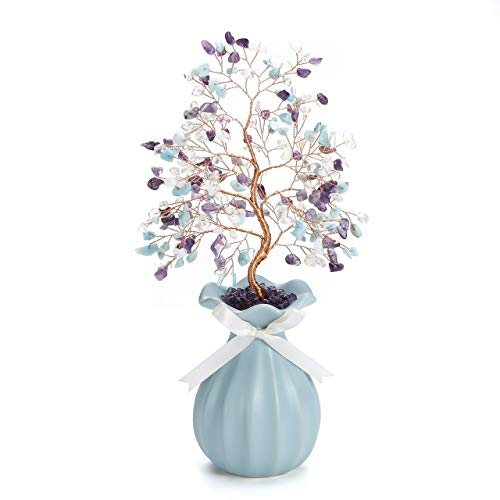 CrystalTears 7 Chakra Crystal Money Tree Feng Shui Crystal Bonsai Tree Sculpture Figurine Natural Tumbled Gemstone Tree Ornament with Blue Ceramic Vase for Home Decoration Wealth Healing Gift