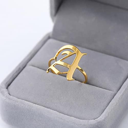 CXWK Anillo de Letra Inicial para Mujer Anillo de Acero Inoxidable Oro Hombres AZ Anillos Initia Anillos Mujer Alphabet Capital Ring para niña