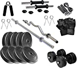 TONE UP 20KG Home Gym Combo, Gym Equipments with PVC Dumbbell Plates, 3Ft Curl Rod, 5Ft Straight Rod and Accessories (Weight 3KG,2KGX4=20KG)