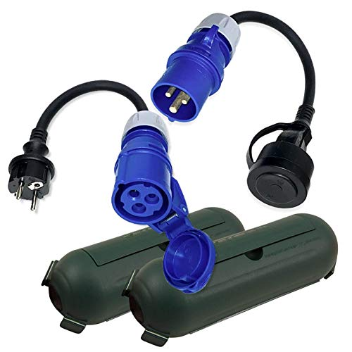 CEE Adapter Stecker Kupplung Schutzbox Set Camping Boot Wohnmobil Garten H07RN-F 3x2,5mm² 230V 16A