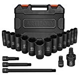 ARTIPOLY Impact Socket Set 1/2'' Drive SAE,19pcs Deep Impact socket set(3/8''-1-1/4''),14pcs Sockets with 3pcs 1/2'' Impact Extension Bar, 3/8'' to 1/2'' Adapter & 1/2'' Universal Impact Joint