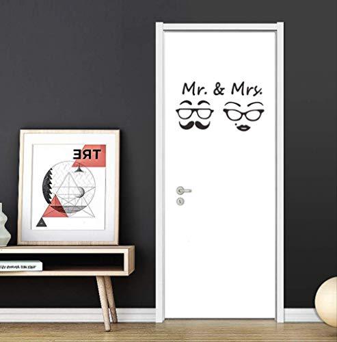 Autocollant Mural Mr & Mme Rétro Lunettes Toilettes Signe Fond Maison Décoration Papier Peint Porte Amovible Autocollants Autocollants Muraux