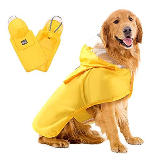AOFITEE Waterproof Dog Raincoat Hooded Rain Poncho Slicker, Adjustable Pet Rain Jacket with Reflective Strip and Packable Pocket, Lightweight Dog Rain Coats for Small Medium Large Dogs (Yellow,2XL)