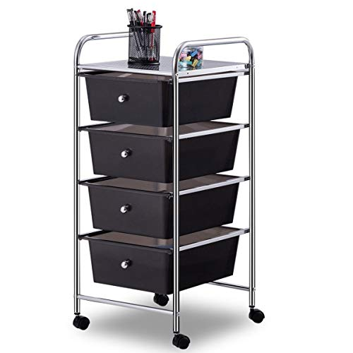 Giantex 4 Drawers Cart Storage Bin Organizer Rolling Storage Cart Metal Frame Plastic Drawers Flexible Wheels Home Office Scrapbook Supply & Paper Shelf