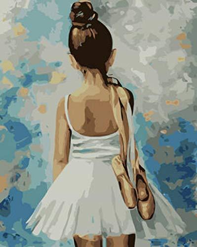Hanzeze Pintar por Numeros Bailarina de Vuelta Principiantes Lienzo de Bricolaje Regalo de Pintura al óleo para Adultos niños Pintura por número Kits Decoraciones 40x50cm Sin Marco