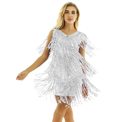 inhzoy Vestido de Baile Latino Lentejuelas para Mujer Vestido de Rumba Tango Salsa Samba Flecos Traje de Baile de Salón Disfraz de Fiesta Dancewear Plateado XX-Large