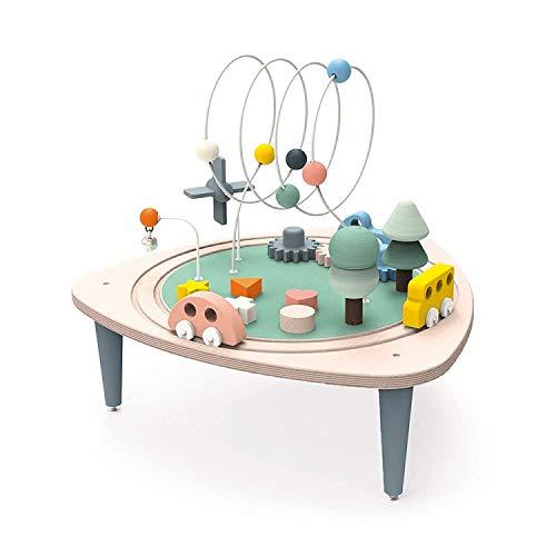 Janod Mesa de Actividades de Madera - Colección Sweet Cocoon - Juguete de Aprendizaje temprano 6 Actividades para incrustar, apilar, manipular - con Laberinto, ábaco, Equipo - A Partir de 1 año ⭐