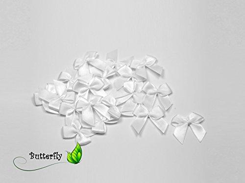 20 Stück Satinschleifen 2,5x3cm (weiß 029) // Deko Schleifen für Hochzeit Taufe Kommunion Applikation Streudeko einfarbig
