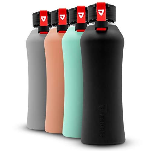 VIA FORTIS Botella de Cristal con Funda de Silicona Botella para Deportes, Fitness, Gimnasio, Bicicleta y Oficina – irrompible y sin BPA – 550 ml (01 - Onyx Black - Negro)