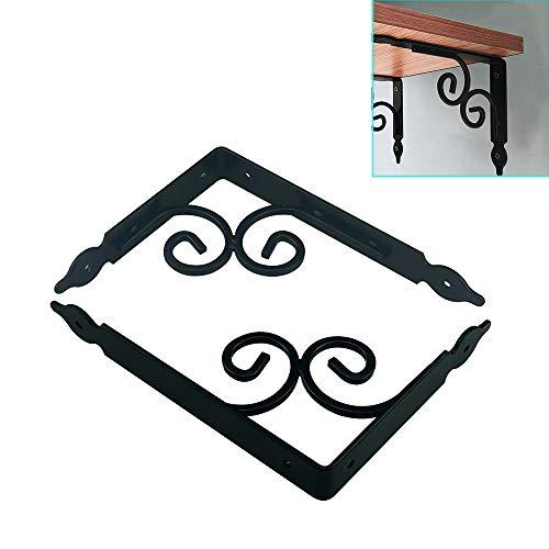 Houder voor tablet, van ijzer, driehoekig, wandhouder, max. 60 kg, houder, doe-het-zelf, drijvend, rek, retro, zwart, wit, 140 – 350 mm.