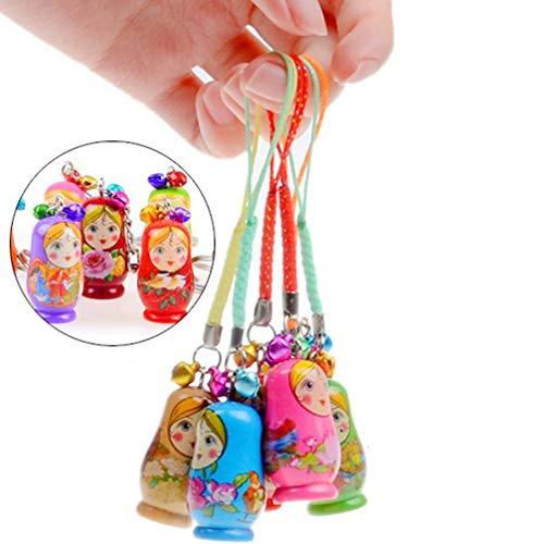 NUOBESTY Mini Russische Puppen Charms 24Pcs Zufällige Schlüsselringe Russische Puppen Praktische Russische Nistpuppe Matroschka Schlüsselringe Hängen Anhänger Schlüsselanhänger Handtasche