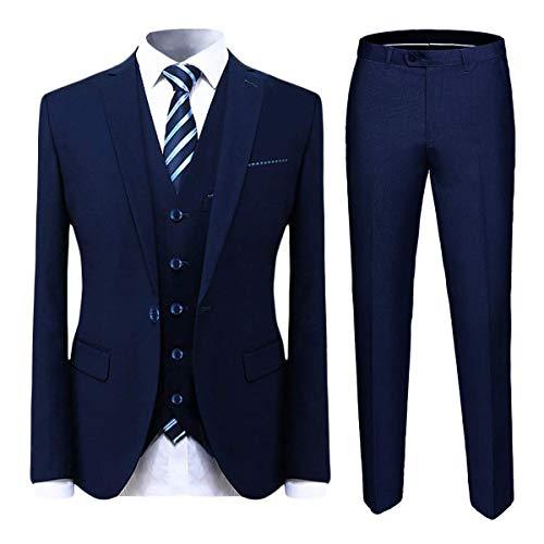 Cloudstyle Mens Suit Solid Color Formal Business Two Button 3-Piece Suit Wedding Slim Fit (Medium, Blue)