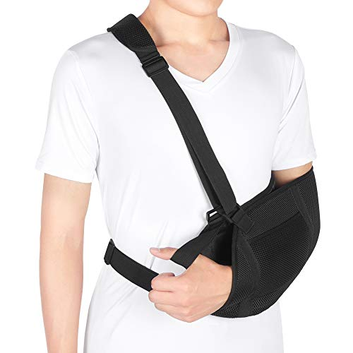 Arm Sling for Shoulder, Breathable Mesh Medical Sling with Waist Strap, Shoulder Immobilizer Support for Broken Arm, Wrist, Elbow, Shoulder Injury, Available for Women and Men, Left or Right Arm
