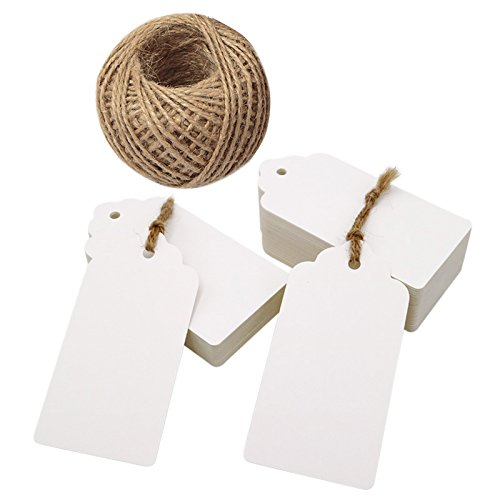 100pcs White Gift Tags for Crafts 10x5cm Craft Hang Tags with 30M Jute Twine for Christmas Wedding Favours