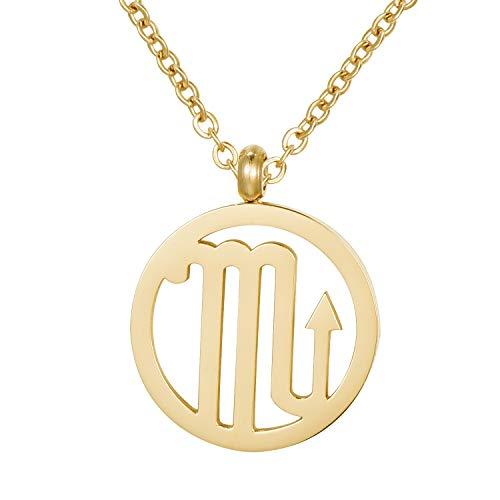 Morella Collar Acero Inoxidable Oro con Colgante Signo del Zodiaco Escorpio en Bolsa de Terciopelo