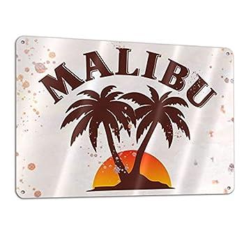 N/A  Malibu Rum Retro Poster Metal Tin Signs Bar Cafe Restaurants Home Garage Decoration Wall Art Board 12x8 Inch