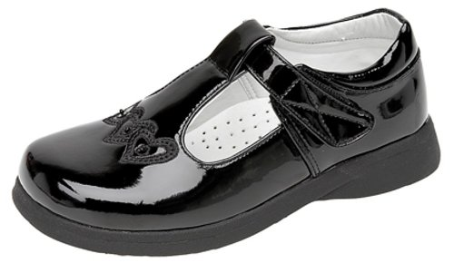 Boulevard Girls Touch Fastening T-bar Shoes Black