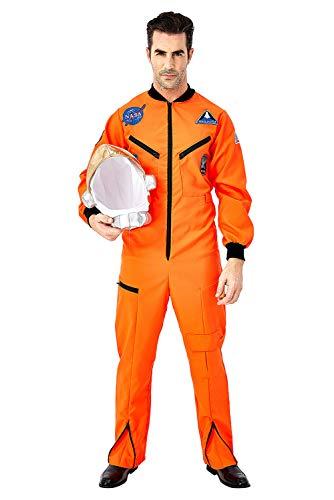 Fortunezone Herren Astronaut Kostüm Weltraum Raumfahrer Astronauten-Anzug Spaceman Overall Outfit Orange XL