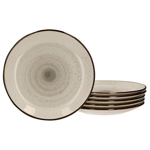 Van Well 6er Set Kuchenteller Nova Ø21cm I Strudeldekor grau I Dessertteller rund I Tafel-Geschirr I Gastro-Bedarf Brunch & Buffet