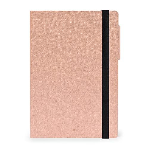 Legami - Agenda semanal de 12 meses 2022, tamaño mediano con portátil, color rosa dorado.