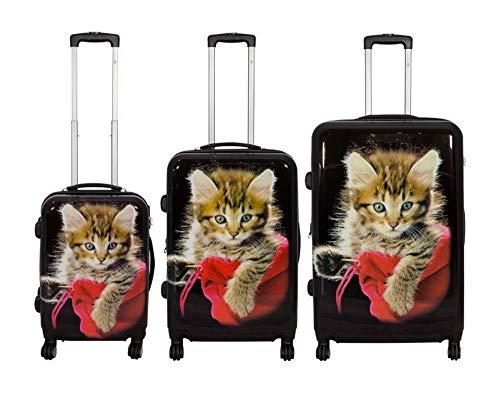 TOP Trolley-Koffer-Sets - Diverse Motive - 3-teilig - 74 + 64 + 54 cm - 4 Rollen - Hartschale (Katze)