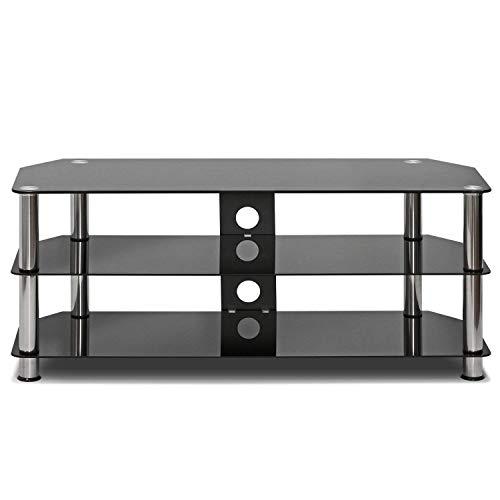 landeer - Mueble de cristal templado para TV (100 cm), color negro