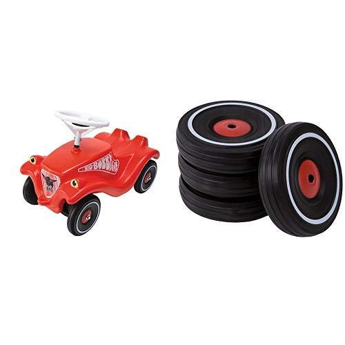 BIG Spielwarenfabrik BIG 800001303 - Bobby-Car-Classic, rot &  1260 - Bobby Car Flüsterreifen-Set