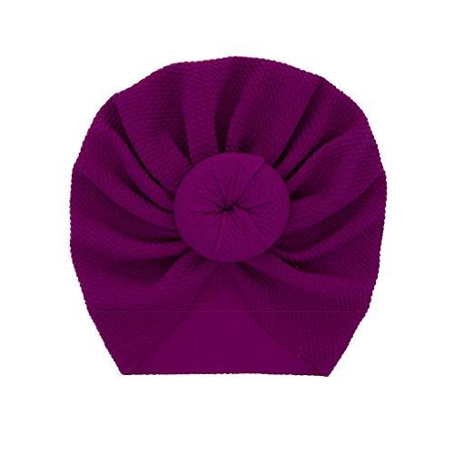 LABIUO 12 Couleurs Style Indien Noeuds Bonnet Bébé, Mode Chapeau Bandeau Turban Noeud Mou Tête Wraps pour Bébé Filles Bonnet Nouveau-Né Tout-Petits pour 0-2 Ans(Violet,Taille Unique)