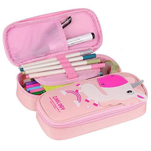 Unicorno Astuccio Portamatite Grande - WENTS Durevole Pencil Case con Cerniere Zip, Astuccio Scuola per Bambini Ragazze, Caso Matita Custodia Cosmetica di Grande Capacità, 2 Scomparti (Unicorno rosa)