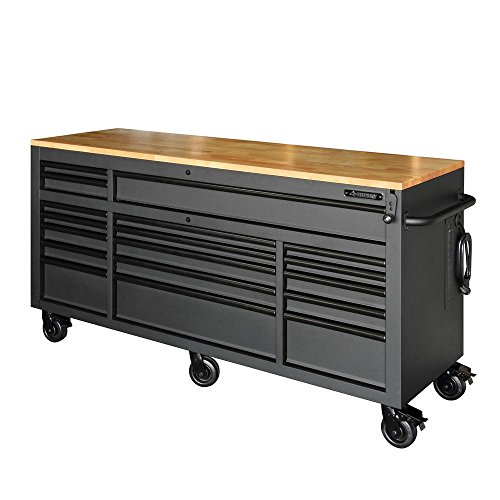 Husky 72 in. 18-Drawer Mobile Workbench with Adjustable-Height Solid Wood Top, Matte Black