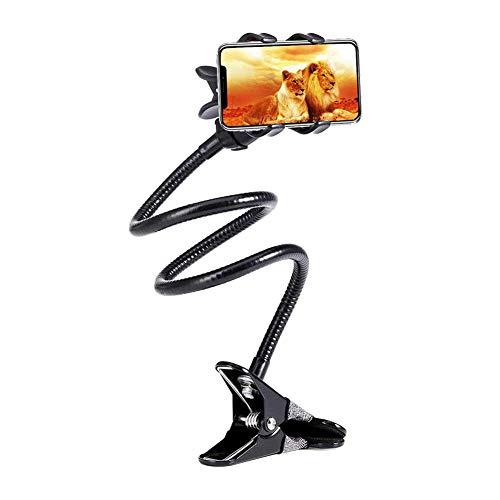 Soporte para teléfono, soporte de cuello de cisne, soporte flexible para brazo perezoso universal de escritorio ajustable con tornillos de 1/4 pulgadas, 60 cm