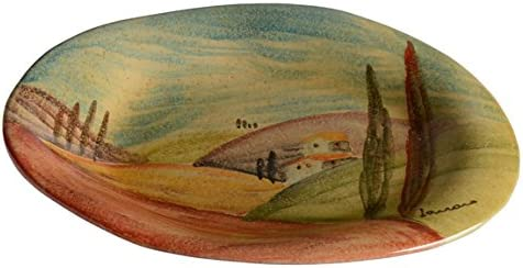 Popular popular Tuscan Ranking TOP14 Oval Shaped Dinner Plate Painted Countryside with Hand Ar