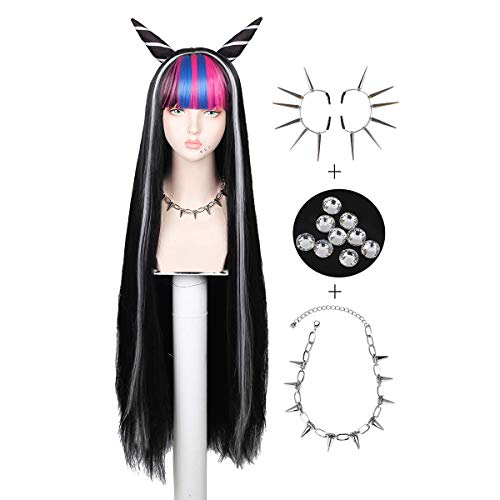 Conjunto de peluca con collar y pendientes Peluca larga negra de cosplay para Halloween
