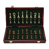 Juego de ajedrez de lujo, juego de ajedrez para adultos, juego de tablero de metal grande de lujo retro chapado en cobre, caja de madera portátil, juego de ajedrez plegable