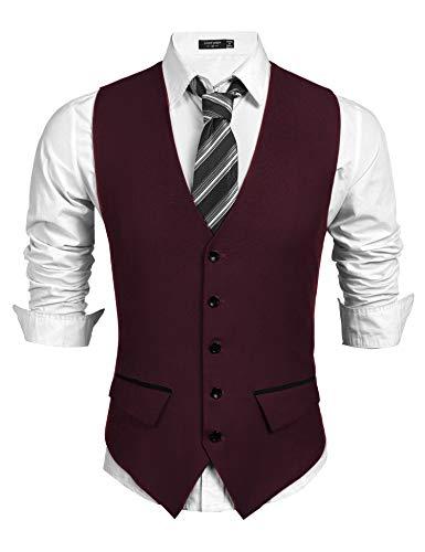 COOFANDY Herren Anzugweste Herren wesern Weste Slim fit ärmellose v-Ausschnitt Freizeit Business Hochzeit Herrenweste(Weinrot,XL)