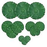 12PCS Artificiales Hojas de Lirio de Lotus follaje Hojas del Lirio de Agua del Estanque de Peces para Suministros Piscina Acuario de la decoración del jardín