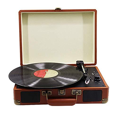 Draagbare luidspreker platenspeler, retro bruin leer van Pu grammofoon, draadloze Bluetooth-platenspeler, kan 180/200 / 300mm stereo draaitafel opnemen