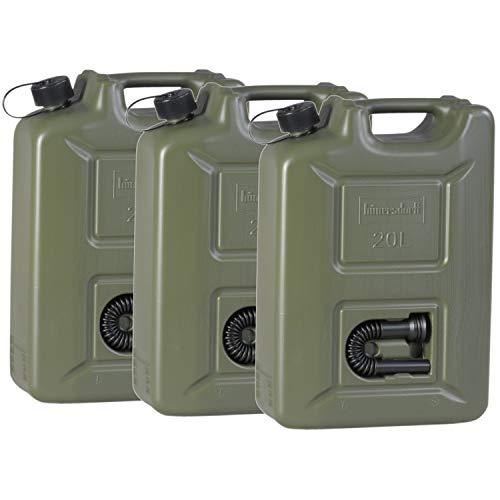 hünersdorff 802011 3er Set Kraftstoff-Kanister PROFI 20l für Benzin, Diesel und andere Gefahrgüter, Made in Germany, TÜV-geprüfte Produktion, oliv
