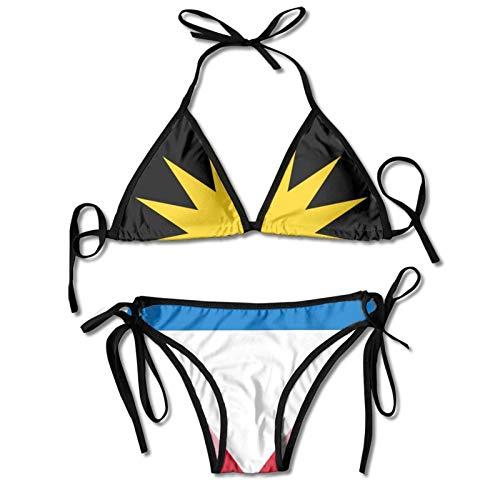 Bikini Bandera De Antigua Y Barbuda Regalo De Cumpleaños Ajustable para Novia Ropa De Playa Trajes De Baño Atractivos Y Duraderos para Mujer Traje De Baño De Dos Piezas con Almoha
