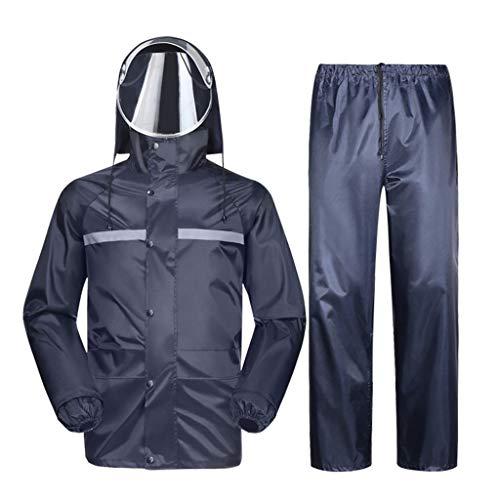 QSS Veste imperméable for Homme Raincoat Raincoat Capuche Set/Pantalons Raincoat Habineige Ski Veste/Pantalon Costume de Pluie Moto extérieure et des Bandes réfléchissantes (Size : XXXXL)