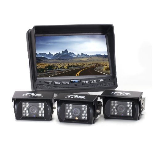 Rear View Safety RVS-770615 Backup Camera System with Three Backup Cameras and 7' TFT LCD Display