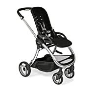 Forward and rear facing removable lie flat seat suitable from birth Puncture proof PU tyres and cantilever suspension all round Single hand fold with seat attached Height adjustable leatherette handle 5-point safety harness