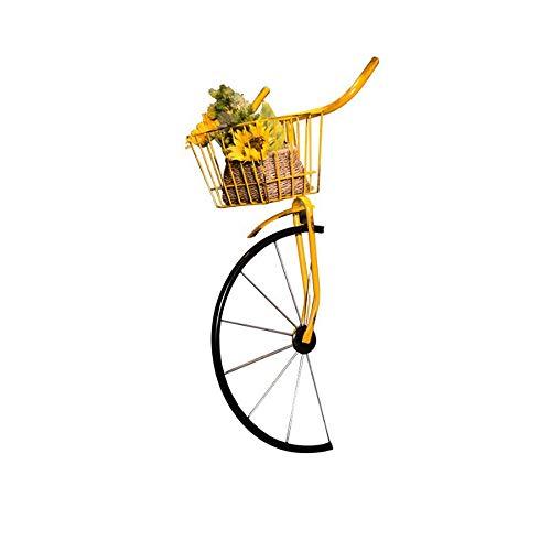 N / C Decoración de Pared de Bicicleta, decoración en Forma de Bicicleta de Hierro con Canasta, macetero de Valla de Manillar Vintage, para macetas, Bar, Tienda de té con Leche, barbería, Restaurante